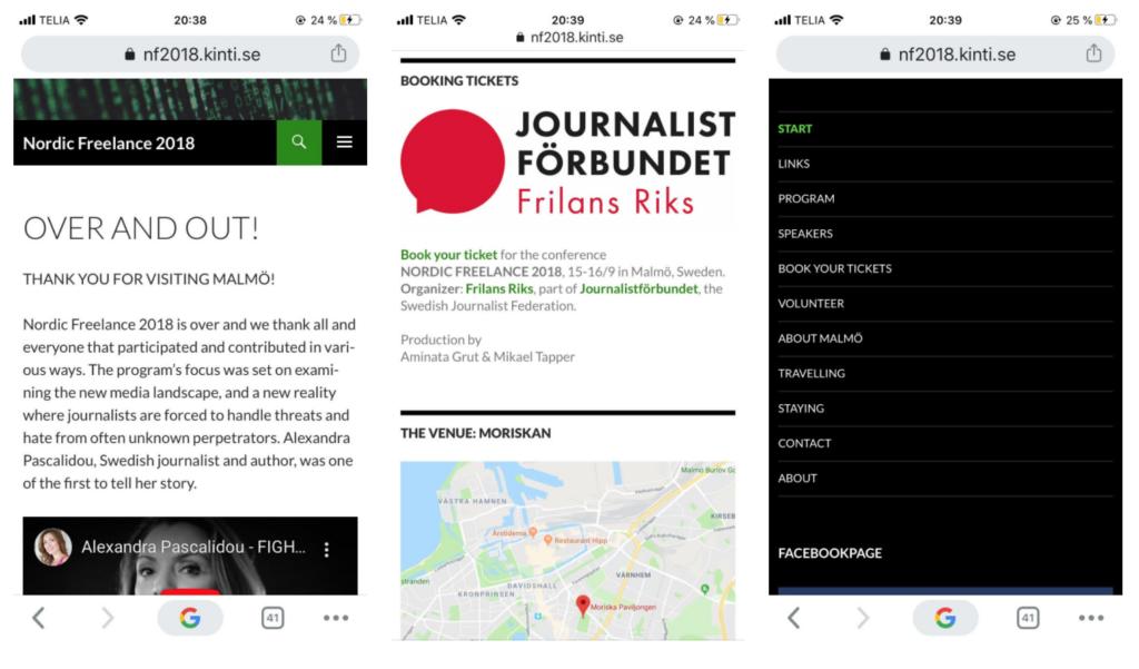 Tre mobilskärmar med information.