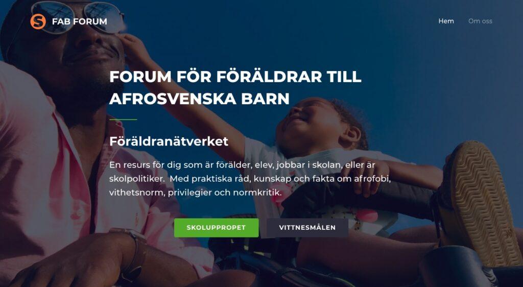 hemsida för nätverket forum för föräldrar till afrosvenska barn
