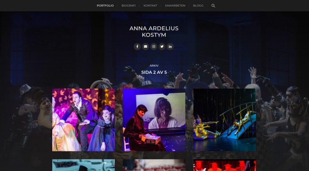 hemsida för kostymskaparen Anna Ardelius